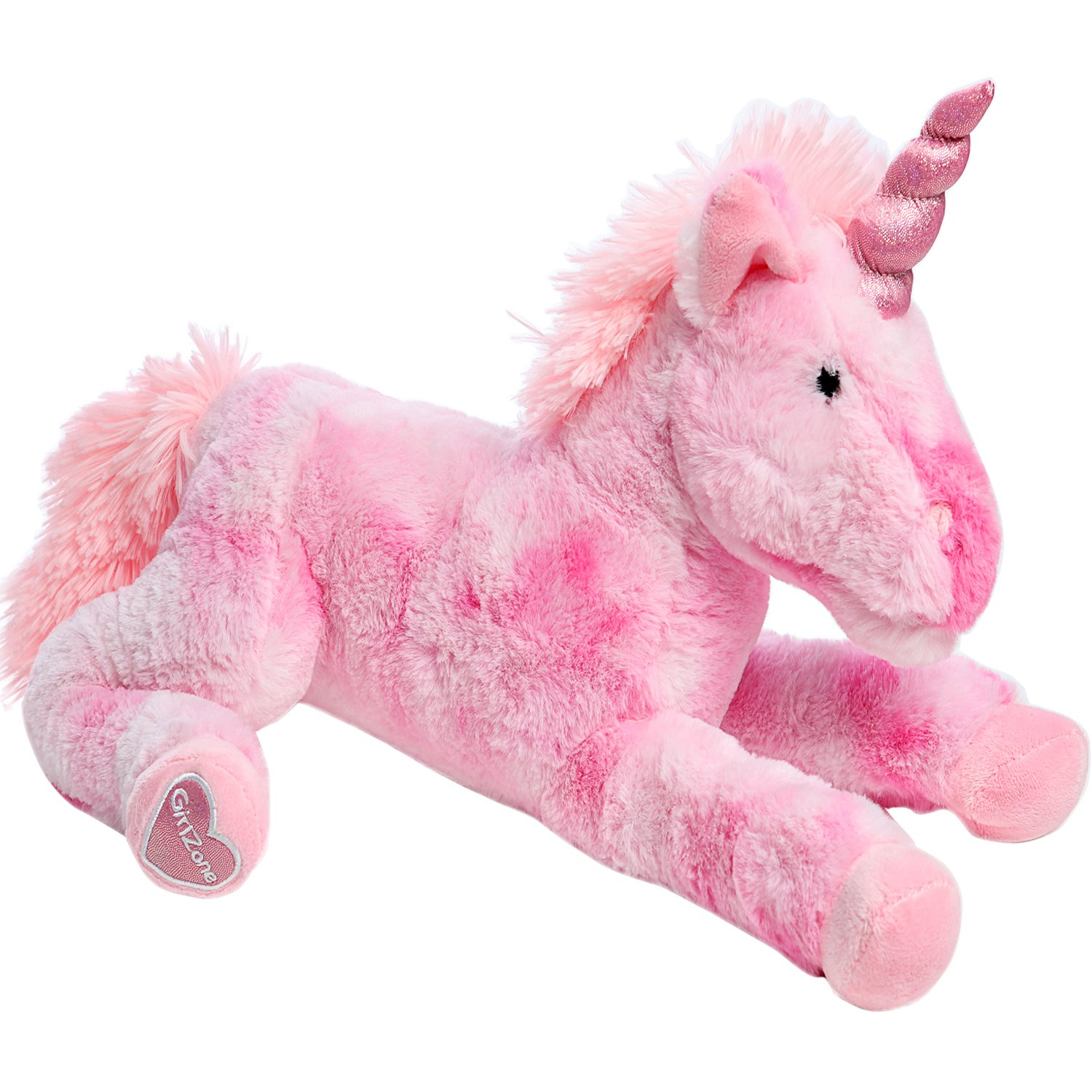 """GirlZone Gifts for Girls: Large 18"""" Pink Plush Stuffed Fluffy Unicorn Animal. Ideal Gift, Birthday Present Gift for Girls Aged 3 4 5 6 7 8 9 Years Old"""