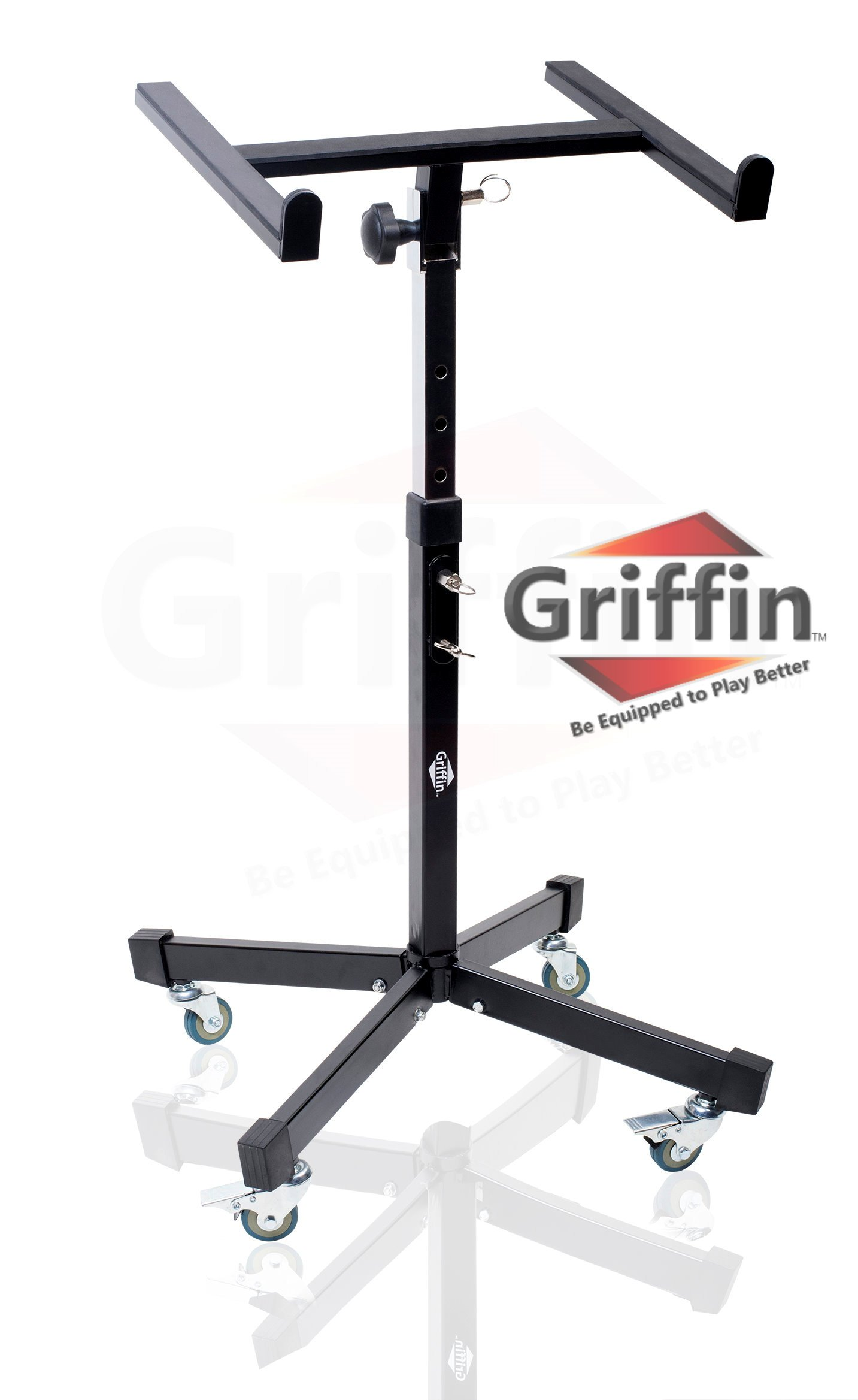 Mobile Studio Mixer Stand DJ Cart by Griffin | Rolling Standing Rack On Casters with Adjustable Height|Portable Turntable | Protect Your Digital Audio Gear and Music Equipment|Heavy Duty Construction