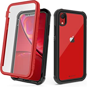 CellEver Compatible with iPhone XR Case, Clear Full Body Military Grade Heavy Duty Protection with Built-in Clear Screen Protector Shockproof Rugged Transparent Cover - Red
