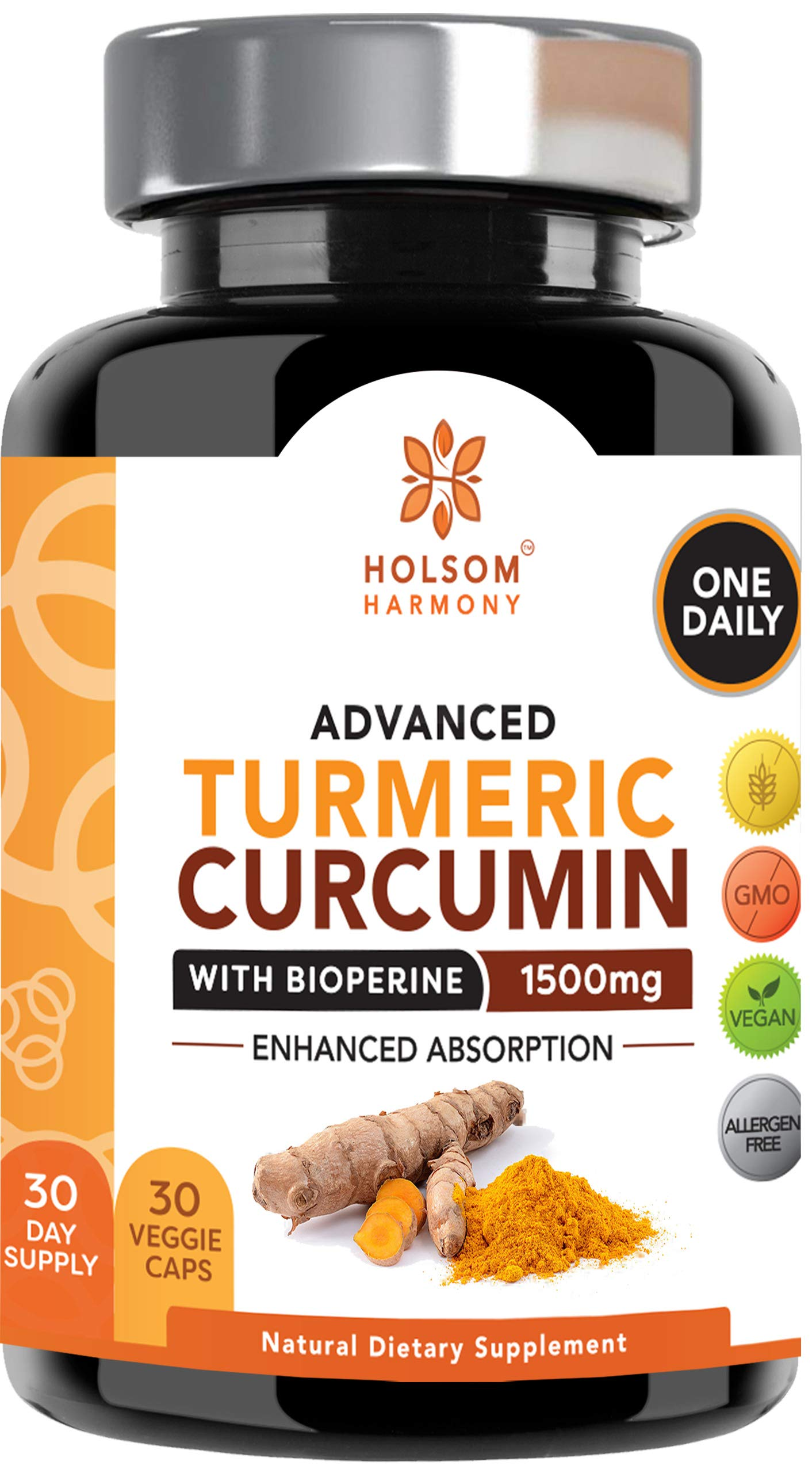 Turmeric Curcumin with Bioperine 1650mg Advanced Formula ONE DAILY, Joint Pain Relief & Anti Inflammatory Supplement with Black Pepper for Best Absorption. Non-GMO, Natural, Made in USA,180 pills