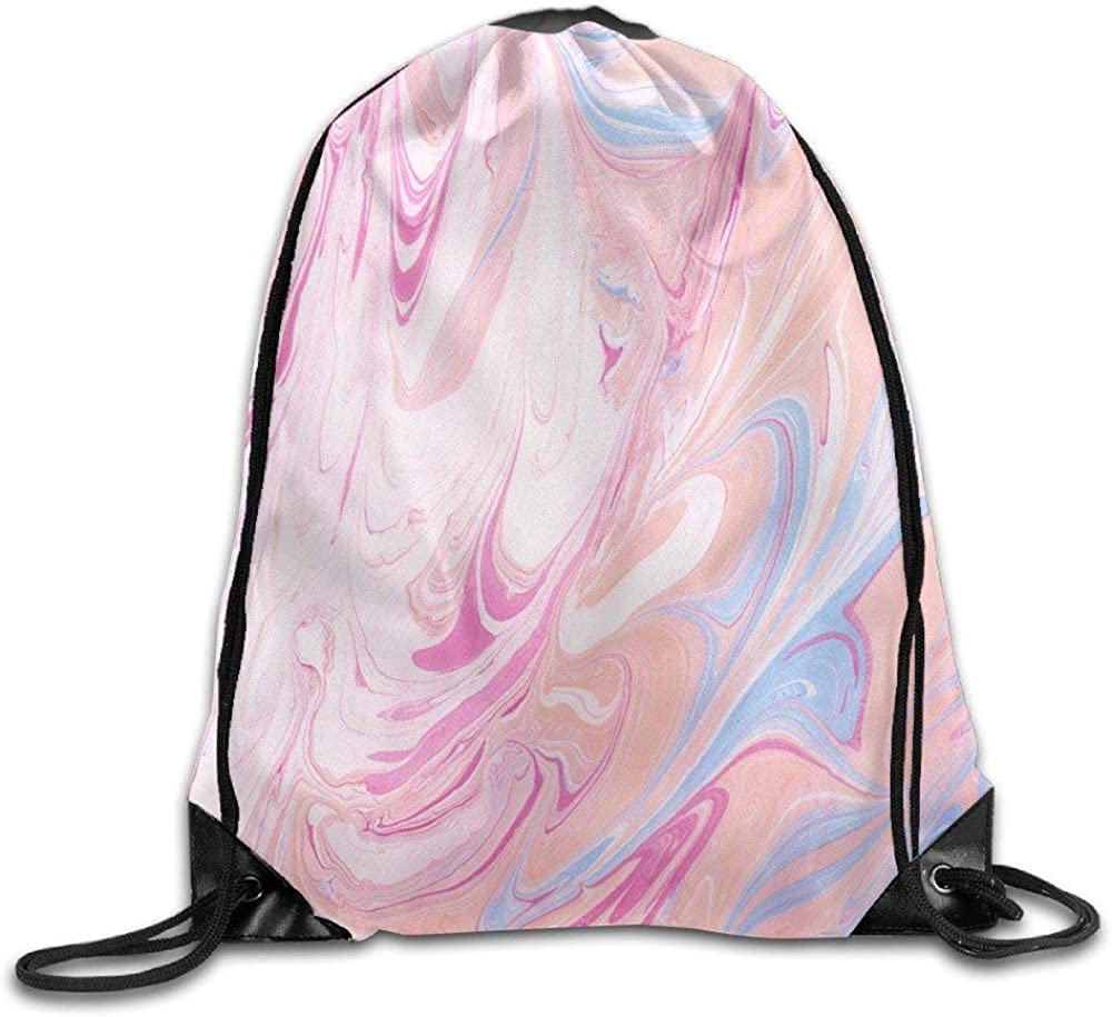 Pink Marble Basic 100/% Polyester Drawstring Backpack Roomy Elegant String Bags 16x14 Inch For Men And Women