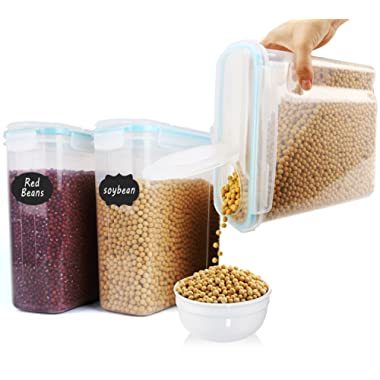 MCIRCO Large Cereal Container Keeper - Set of 3 Plastic Storage 4L (135.2 Oz) Containers, Airtight, Leakproof seal Lids - Suitable For Flour, Sugar - With 20 pcs chalkboard lables