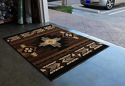 Champion Rugs Southwest Native American Area Rug Brown Design CR597 8 Feet X 10 Feet