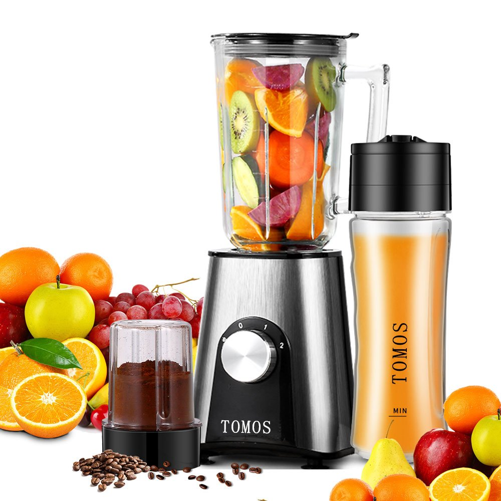 Tomos Smoothie Blender High Speed 3 in 1 Professional Personal Blender with BPA-Free Travel Sport Bottle, 700ml Glass Jar and Coffee Grinder Cup for Shakes, Smoothies, Juice and Baby Food - 300W