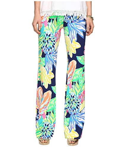 0cf9a0881557c8 Lilly Pulitzer Women's Georgia May Palazzo Resort Navy Travelers Palm Pants
