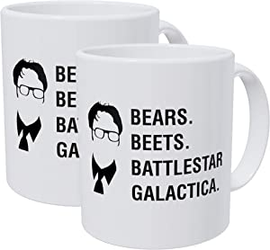 Willcallyou Pack of 2 Bears Beets Battlestar Galactica Jim, Dwight Schrute the office 11 Ounces Funny White Coffee Mug