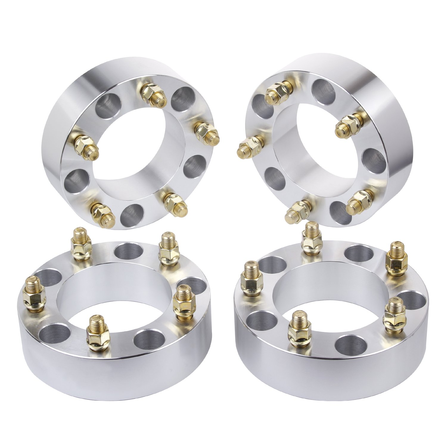 HLZZ SLL-017 4pc 2' Black Toyota Wheel Spacers Adapters 5 Lug 5x150 for 2007-2016 Tundra with 14x1.5 Studs (Silver)