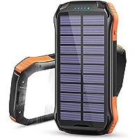 Hiluckey Cargador Solar Inalámbrico 16000mAh Power Bank Carga Rápida Cargador Portátil Batería Externa con 3 Salidas y…