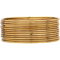 JD'Z COLLECTION Indian Bangles Plain Bracelets Metal Thin Bangles Set Bollywood Fashion Jewelry for Women Gold Grey…