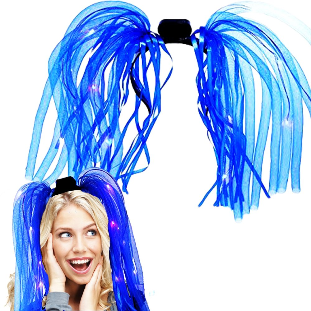 Light Up Hair Toy Cubby LED Party Rave Disco Flashing Noodle Wig Light Glowing Blue Dreads. Ideal For Halloween Dress Up Parties Masquerades...And So Much More Be Refined