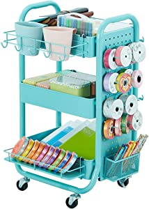 DESIGNA 3-Tier Utility Storage Rolling Cart with Removable Pegboard & Extra Storage Baskets Hooks, Metal Craft Art Carts for Gift Home Office, Teal