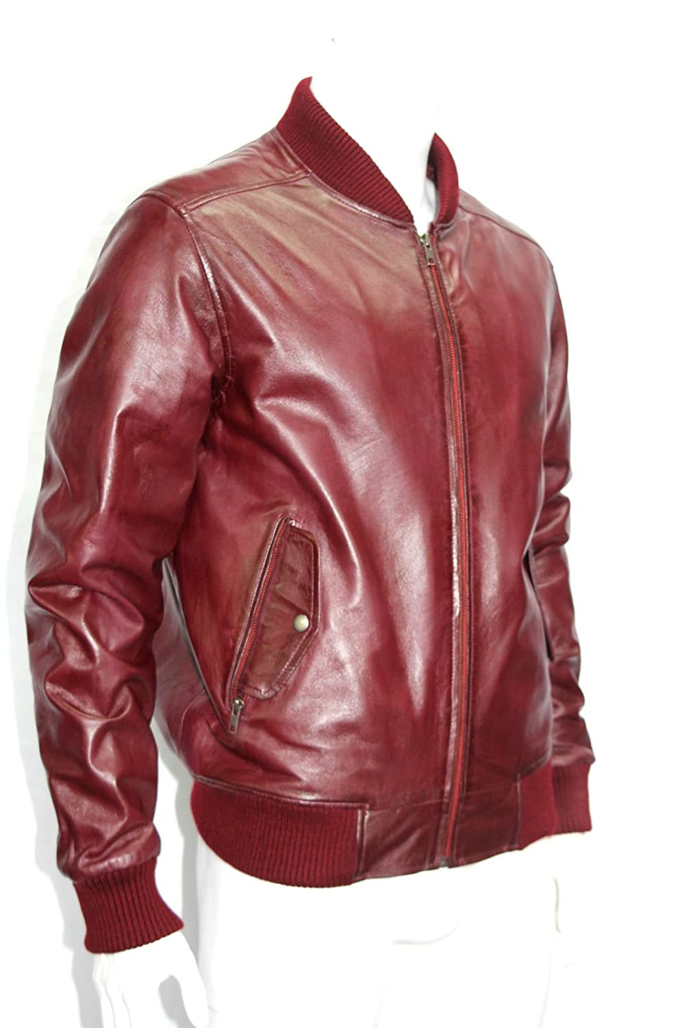 Man 70 S Retro Cherry Red Bomber Style Leather Jackets All Sizes