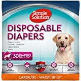 Simple Solution Disposable Dog Diapers for Female Dogs | Super Absorbent Leak-Proof Fit | Females In Heat, Excitable Urination, Incontinence, or Puppy Training