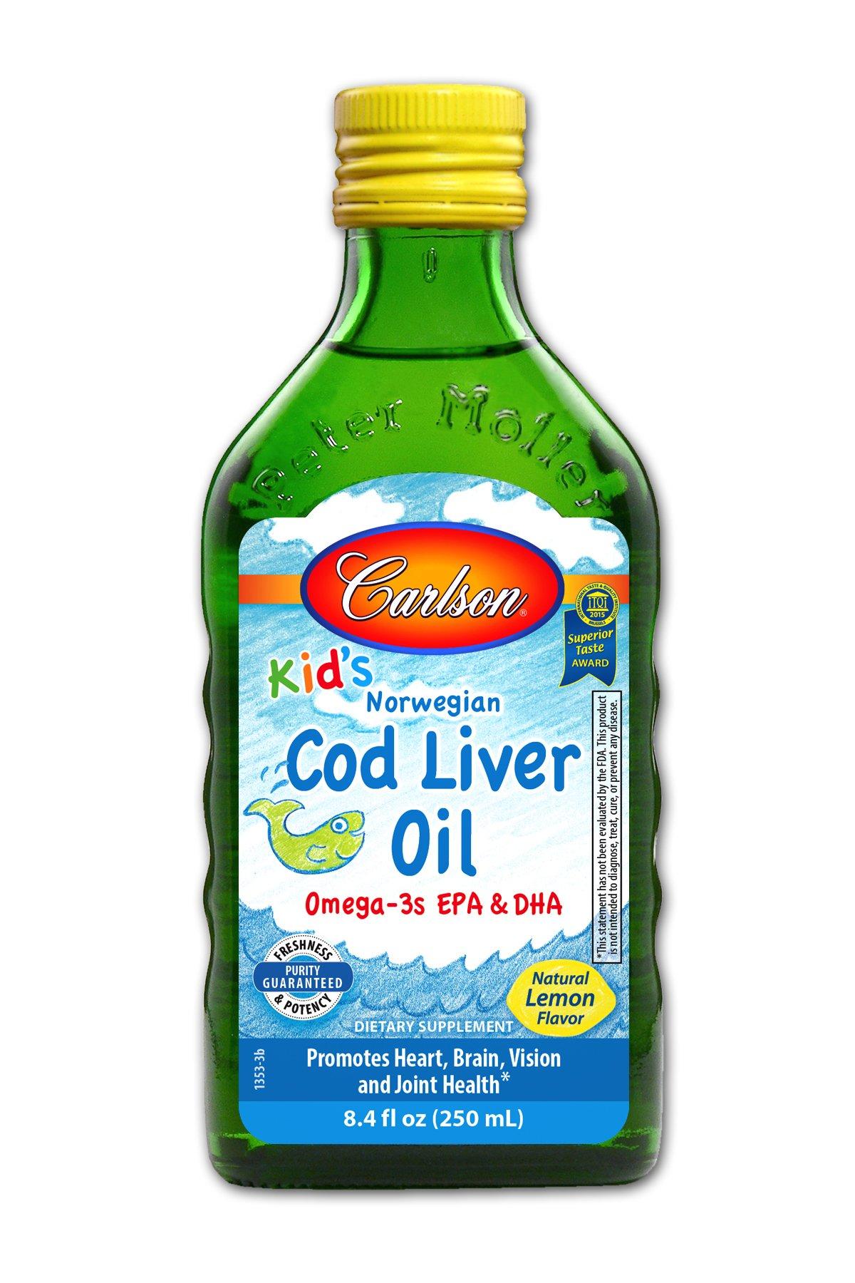 Carlson Kid's Cod Liver Oil, Lemon, 550 mg Omega-3s, 250 mL