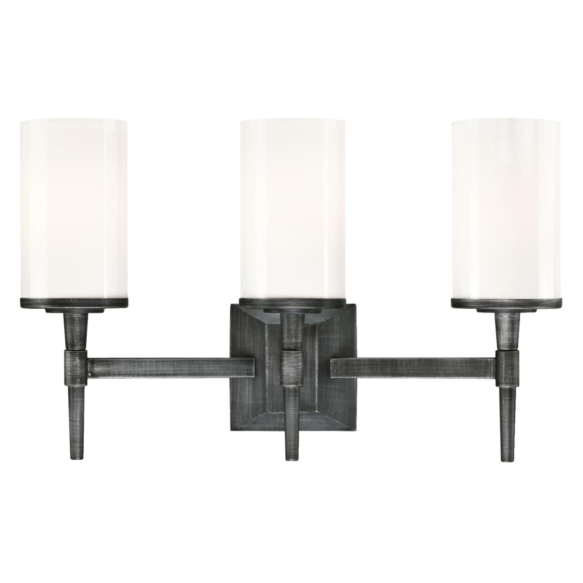 Westinghouse 6324800 Courtfield Three-Light Indoor Wall Fixture, Distressed Aluminum Finish with White Opal Glass
