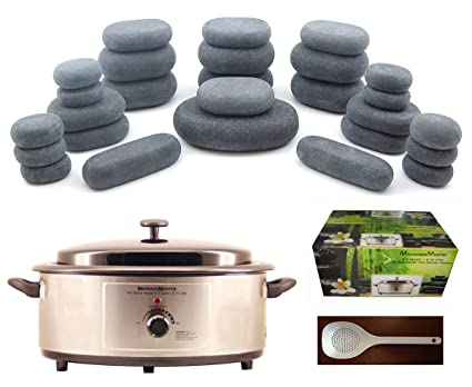 massagemaster Masaje con piedras calientes Kit: 27 piedras + 6,5 calentador de Quart