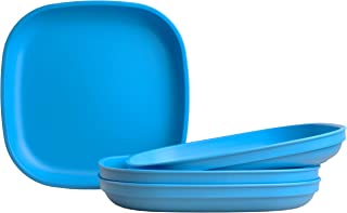 "product image for Re-Play Made in USA Recycled Products, Set of 4 (9"" Heavy Duty Dining Plate, Sky Blue) Great for Outdoor, Camping, Party, Tailgating or Everyday Dining"
