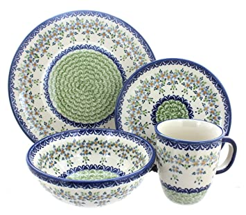 Polish Pottery Summer Vine 4 Piece Dinner Set  sc 1 st  Amazon.com : summer dinnerware sets - pezcame.com