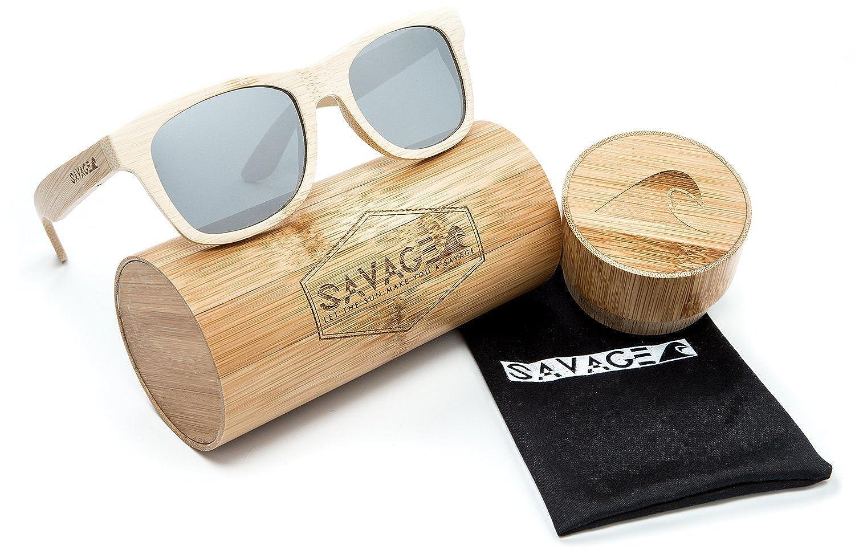 53619974e7 Amazon.com  SAVAGE original bamboo wayfarer polarized sunglasses - handmade!  (Natural Bamboo