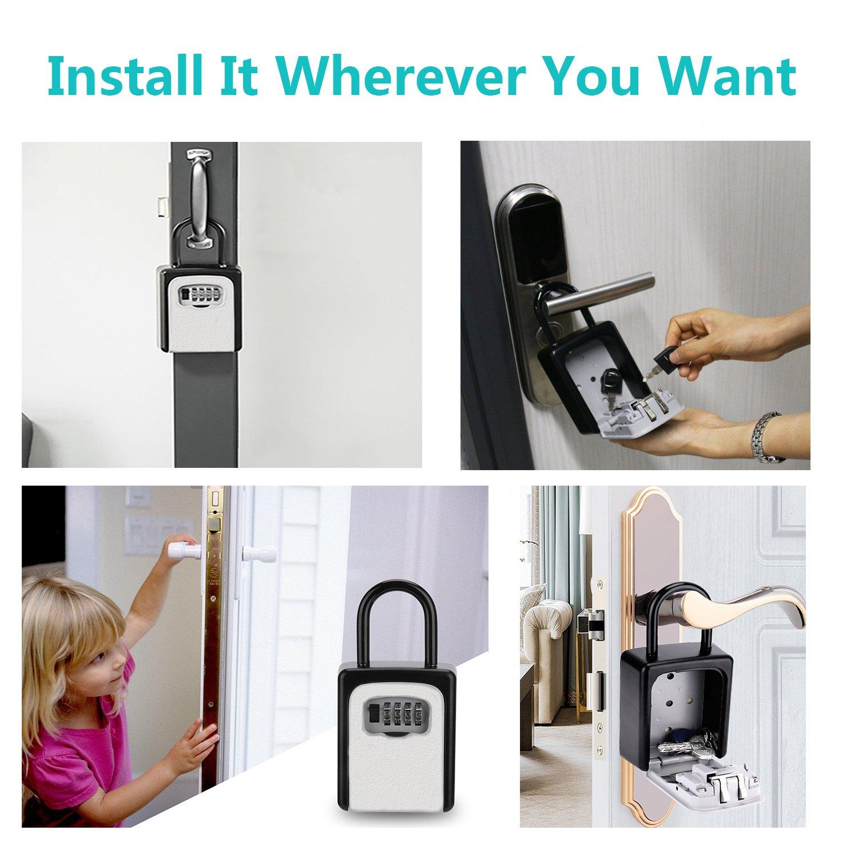 KIPRUN Key Storage Lock Box, 4-Digit Combination Lock Box, Wall Mounted Lock Box, Resettable Code (Belt Hook) by KIPRUN (Image #3)