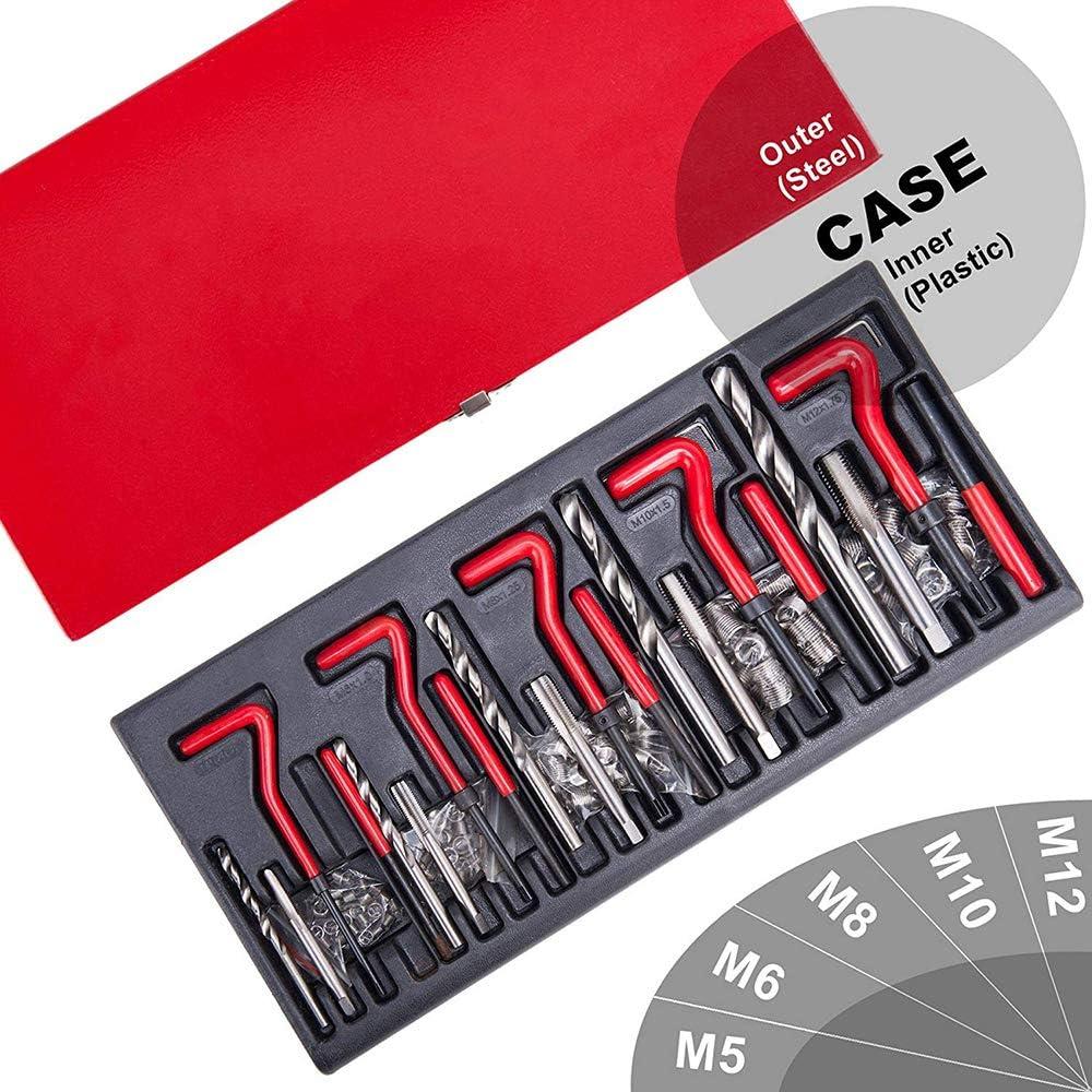KKmoon Juego de Reparacion de Roscas 131 Piezas M5 M6 M8 M10 M12 Kit Reparacion Roscas Helicoidales