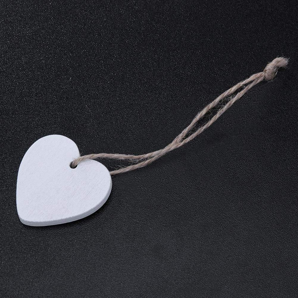 Sitrda 10PCS abbellimenti cuore in legno 40 mm Craft forme da appendere fai da te ornamenti ciondolo con spago naturale per party camera da letto casa decorazione bianco /…