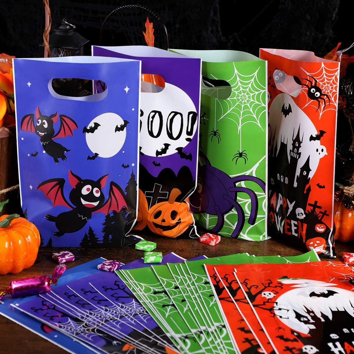 Halloween Candy Bags,Trick or Treat Bags with 6 Patterns Halloween Party Gift Goody Bags 120pcs