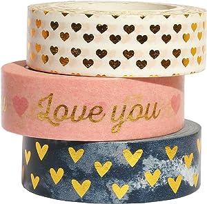 Gold Sweet Heart Washi Tape Set, 3 Rolls Gold Foil Washi Masking Tape, 0.6 x 32.4ft Decorative Washi Tape for Scrapbook, Gift Wrapping, Valentine's Day Wedding Decoration