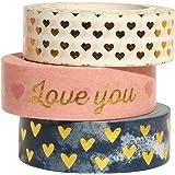 Gold Sweet Heart Washi Tape Set, 3 Rolls Gold Foil Washi Masking Tape, 0.6 x 32.4ft Decorative Washi Tape for Scrapbook…
