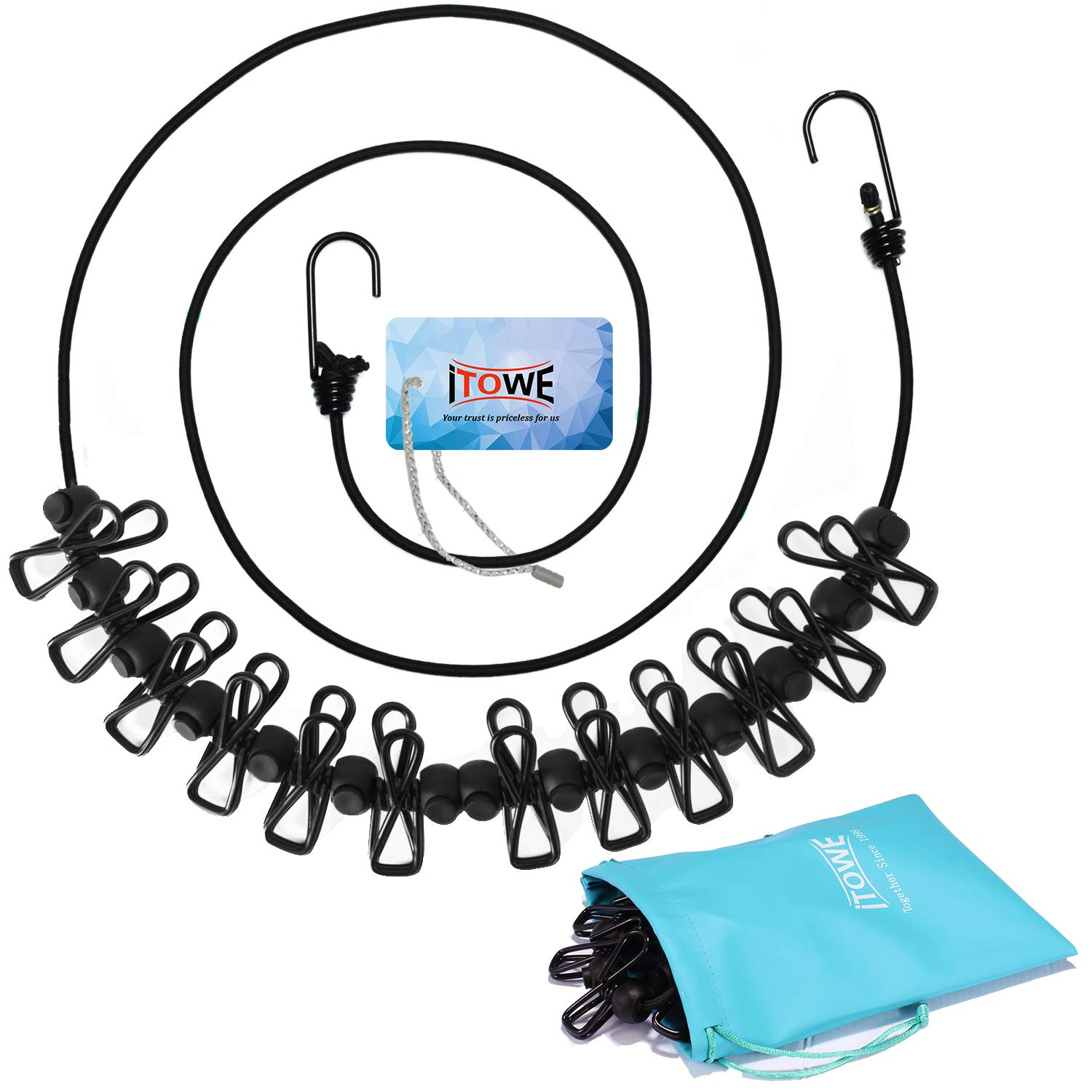 Clothesline with 12 Pins, Portable Travel Clothesline Adjustable Windproof Clothesline Stainless Wire Pin, Clothes Metal Clips for Laundry Drying Outdoor and Indoor Use, Art Display with Portable Bag ITOWE