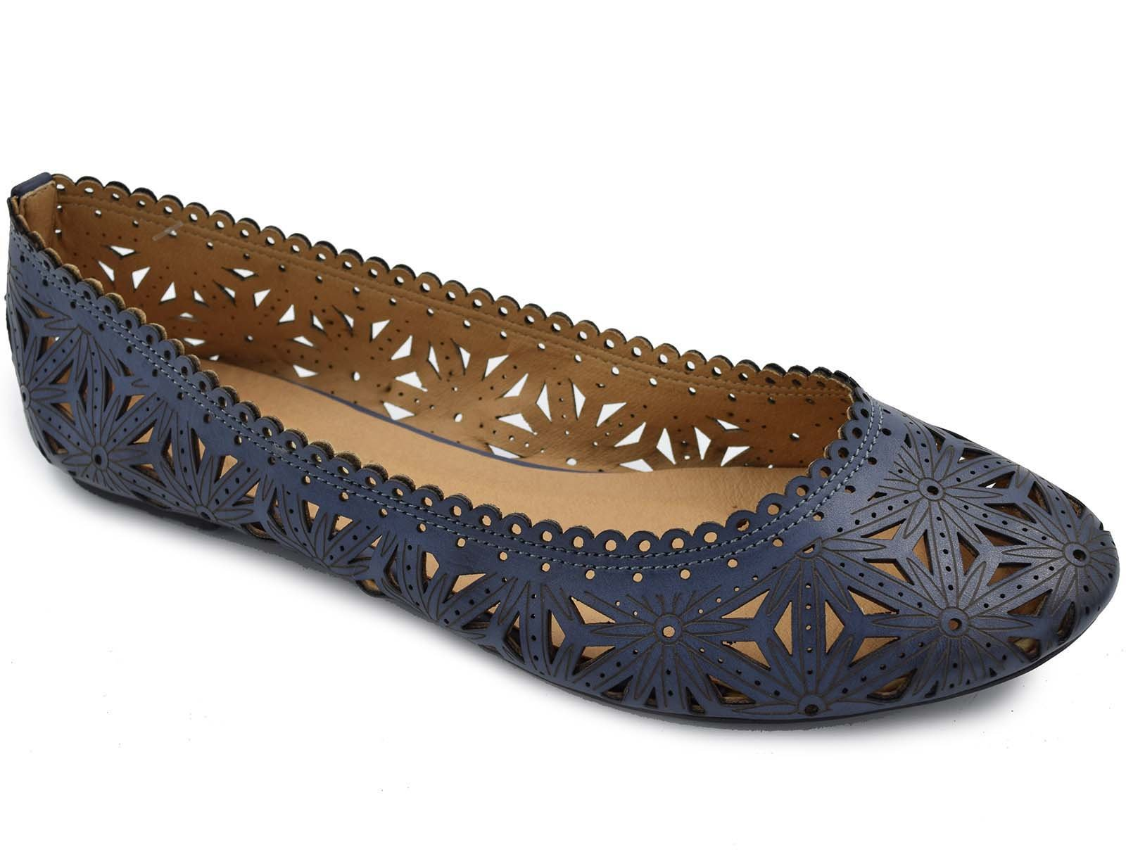 Greatonu Blue Cut-Out Closed Toe Comfort Flat Shoes For Women Size 9