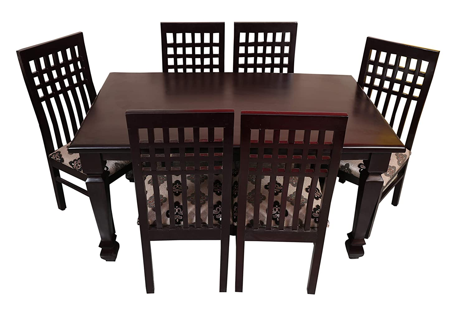 Sapna house solid wood 6 seater dining table setteak woodmahogany coloravailable in both glossy and matt finish amazon in home kitchen