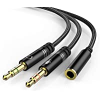 Headphone 3.5mm Splitter Mic Cable for Computer, KOOPAO Headset 3.5mm Female to 2 Dual Male Microphone Audio Stereo Jack…