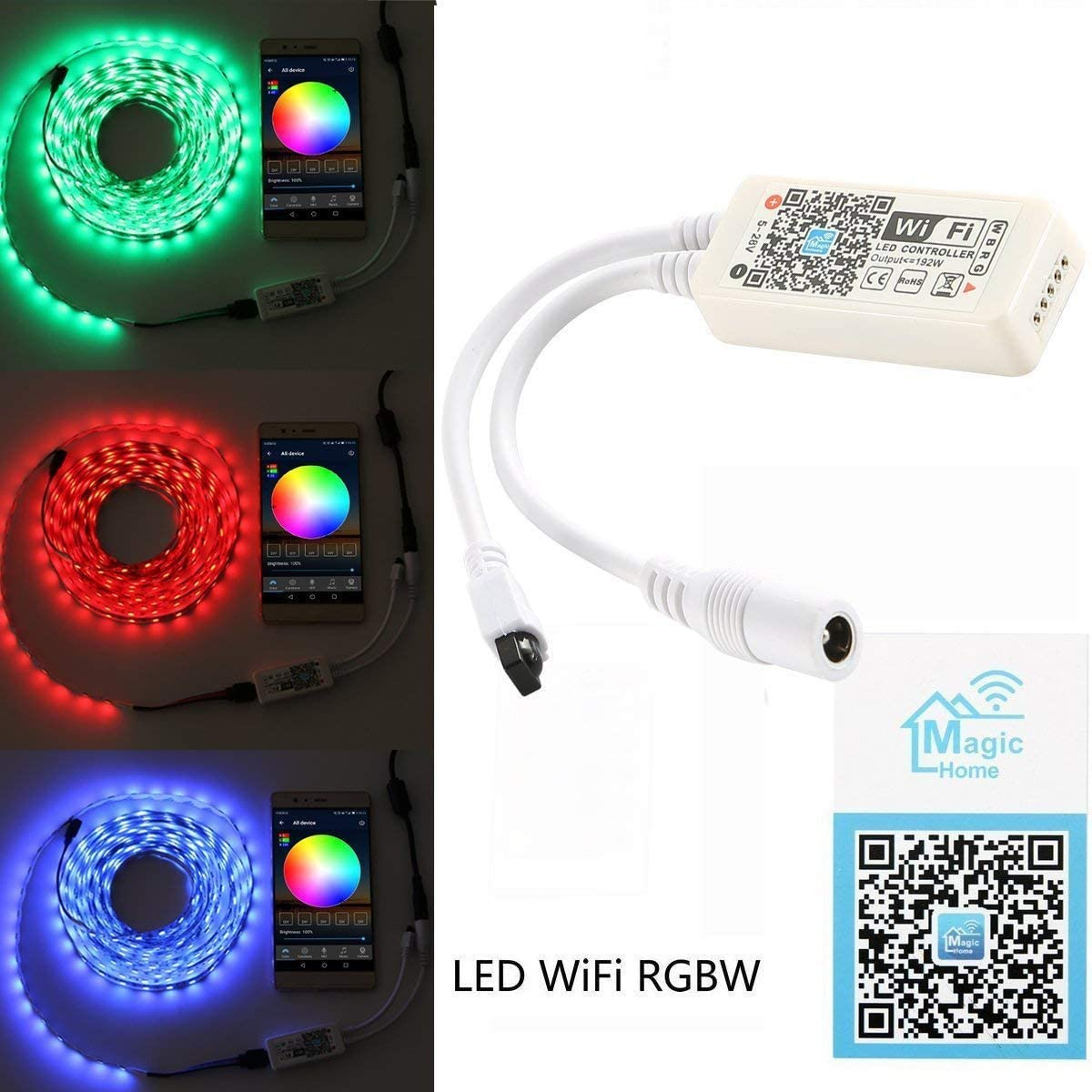 Control Remoto Infrarrojo Cikuso Controlador de Tira Led Rgbw Inteligente Wifi Compatible Con Android Ios Worke Con Alexa Ir 24 Teclas Inal/ámbrico Para Luces de Tira Multicolor