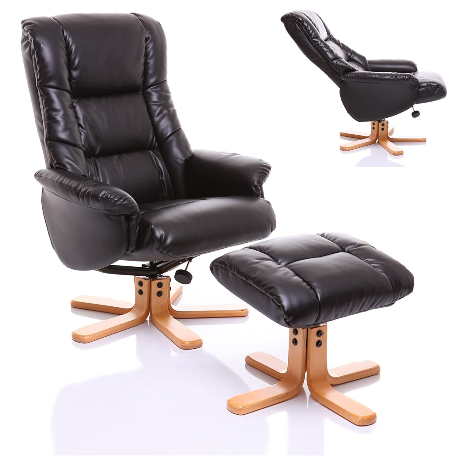 The Shanghai - Bonded Leather Recliner Swivel Chair u0026 Matching Footstool in Black Amazon.co.uk Kitchen u0026 Home  sc 1 st  Amazon UK & The Shanghai - Bonded Leather Recliner Swivel Chair u0026 Matching ... islam-shia.org