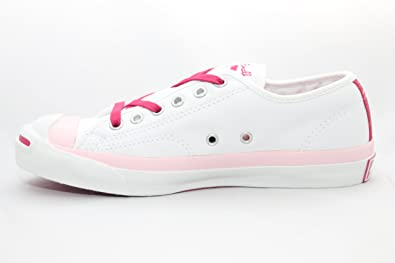a2dba257158f Converse Jack Purcell Soft White Leather Pink Fuchsia trim Lo top 2 pairs  of laces 1U286