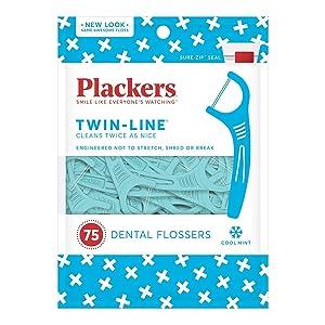Plackers TwinLine Dental Floss Picks, Green, Mint, 75 Count
