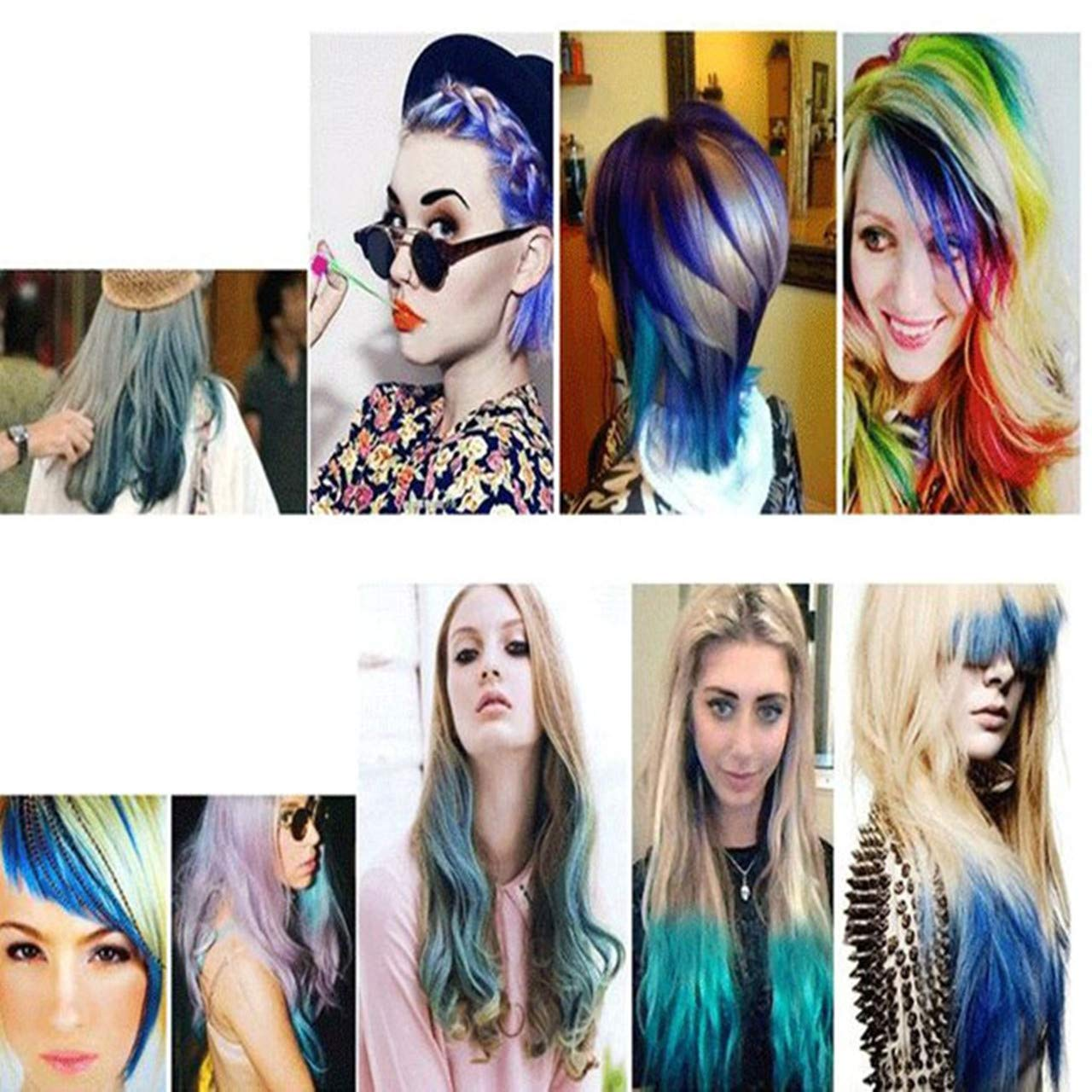 CCbeauty Hair Chalk Comb 6 Color Shimmer Long Lasting Temporary Hair Color Cream Washable Hair Dye Hair Chalk with Brush