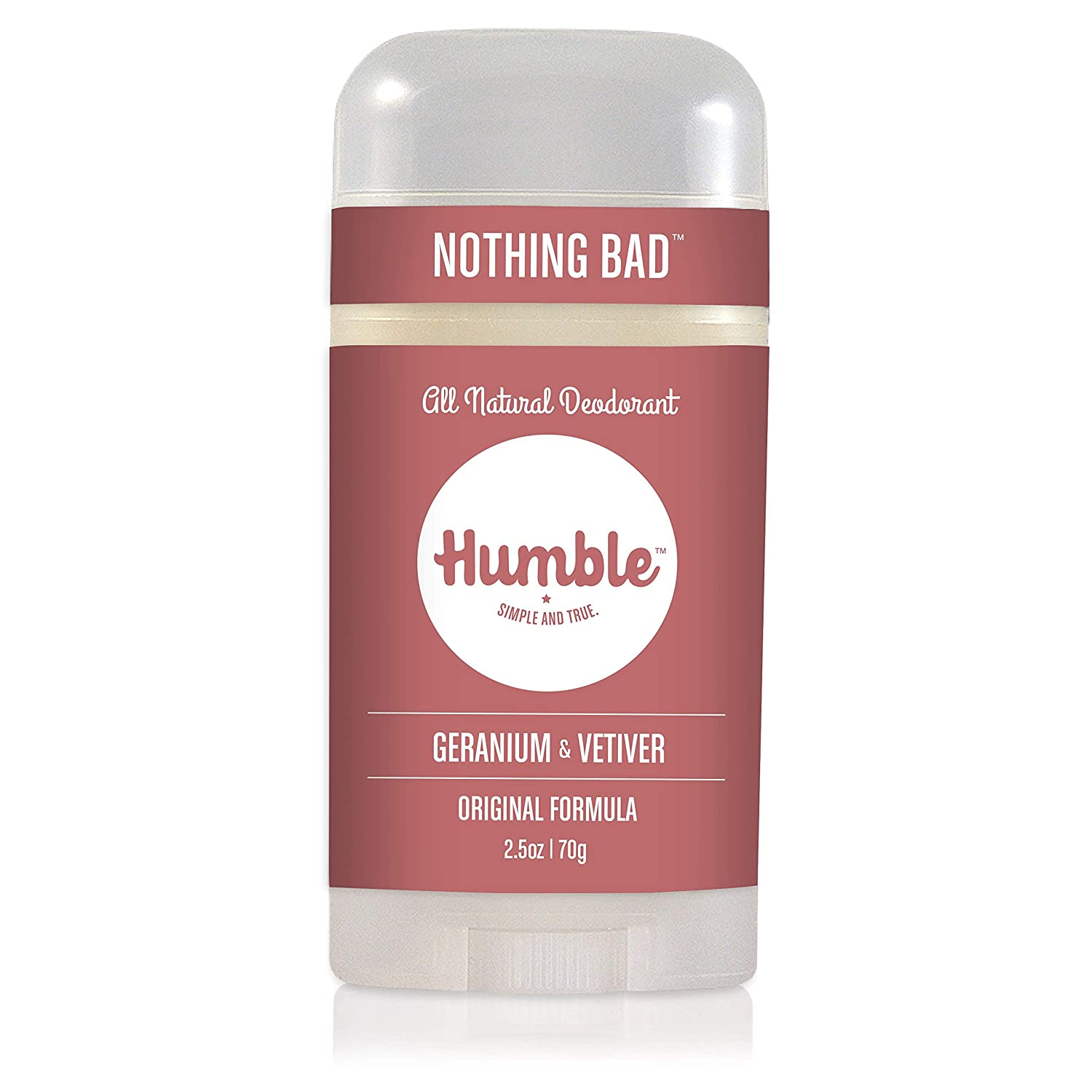 Humble Brands All Natural Aluminum Free Deodorant Stick for Women and Men, Lasts All Day, Safe, and Certified Cruelty Free, Geranium and Vetiver, Pack of 1