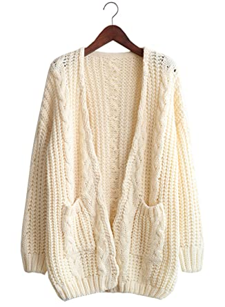 Futurino Womens Chunky Cable Aran Knit Open Front Oversized