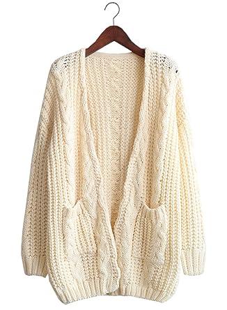d561d33e9 Futurino Women u0027s Chunky Cable Aran Knit Open Front Oversized Cardigans  Sweater ...