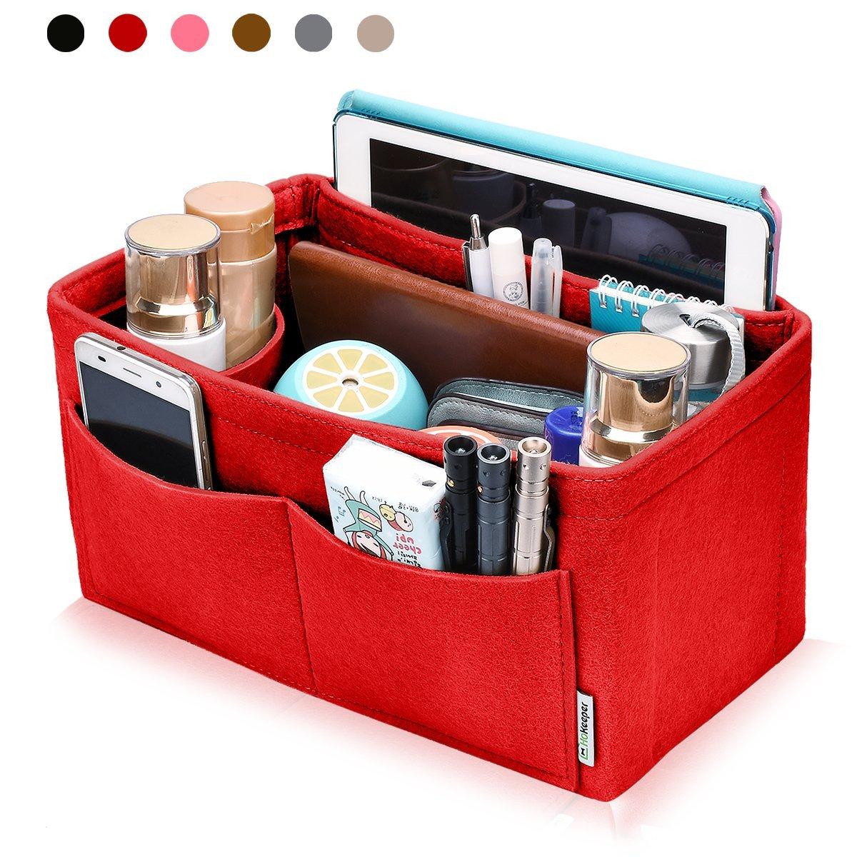 Hokeeper Felt Purse Insert Multi-pocket Organizer, Handbag Organizer, Bag in Bag, 11 Compartments, 4 Sizes, 6 Colors by Hokeeper