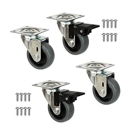 QC EY50G22P 4 Ruedas para muebles 2 con freno y 2 sin freno. Diámetro 50mm