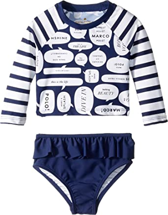 d968058e2 Amazon.com: Kate Spade New York Kids Womens Speech Bubble Rashguard Two- Piece (Infant): Clothing