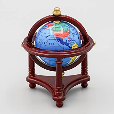 Odoria 1:12 Miniature Blue World Globe with Wooden Stand Dollhouse Furniture Accessories: Toys & Games