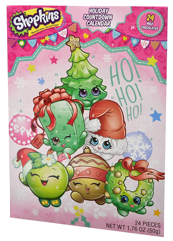 Holiday Advent Calendar Chocolates for Christmas, 24 Chocolate Days til' Christmas, Countdown Chocolate Calendar for Kids, Season Treats, Gift Ideas, Sweet Presents (Shopkins)