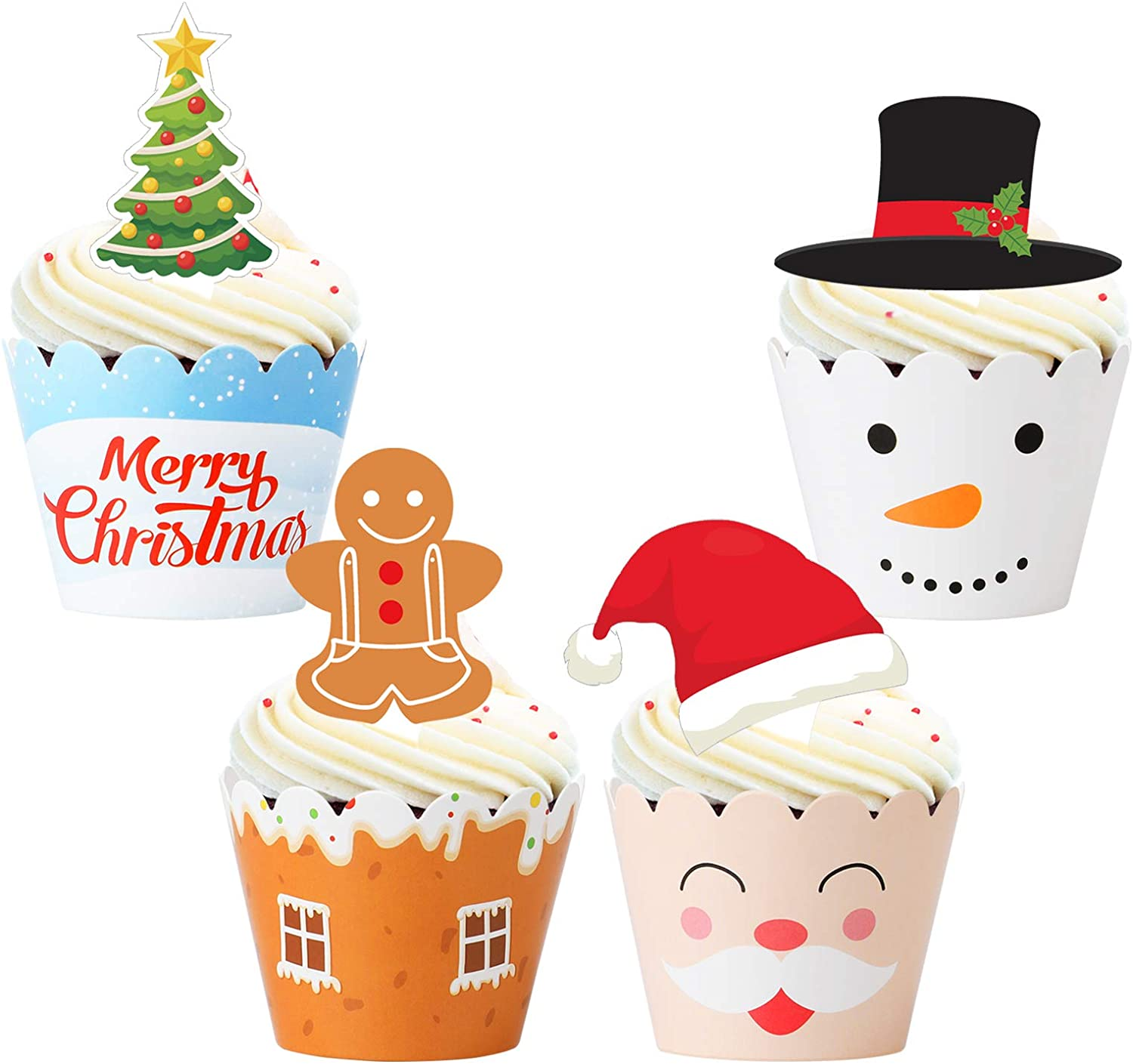 Christmas Cupcake Toppers Wrappers Decorations– Xmas Holiday Party Cake Supplies Decors - Snowman/Santa Claus/Gingerbread/Tree
