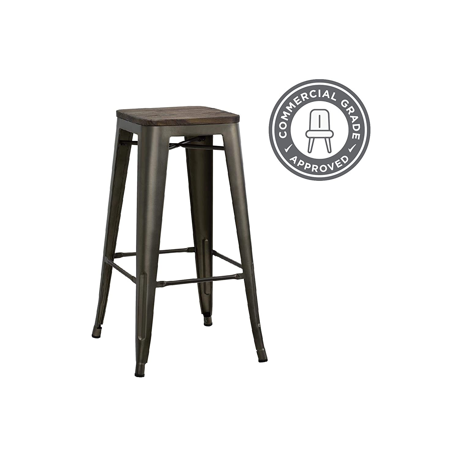 Fabulous Dhp Fusion Metal Backless Bar Stool With Wood Seat Set Of Two 30 Brown Ibusinesslaw Wood Chair Design Ideas Ibusinesslaworg