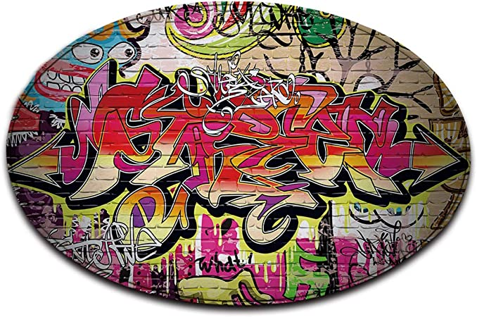 LB Violet Noir Blanc Graffiti Rue Mur Anti-dérapant Lavable en Machine  Espace Rond Tapis Salon Chambre à Coucher Salle de Bain Cuisine Doux Tapis  ...