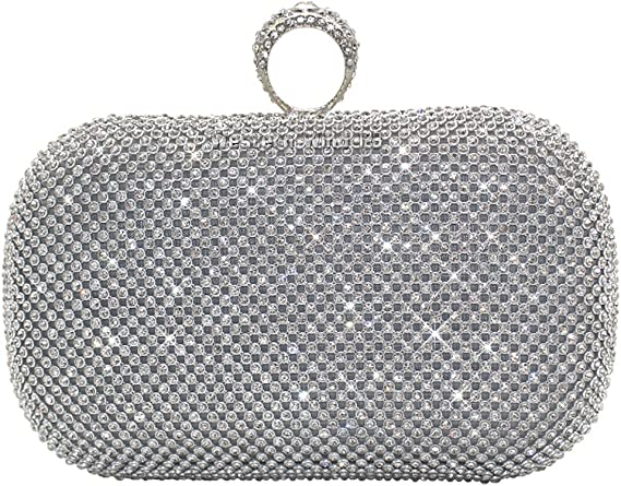 Wocharm Shimmering Crystal Gold Silver Black Diamante Encrusted Evening Bag Baguettes Clutch Wedding Purse Party Bridal Prom Bag Box (Silver)